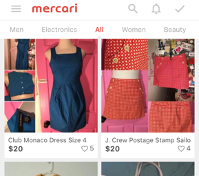 Mercari home screenshot