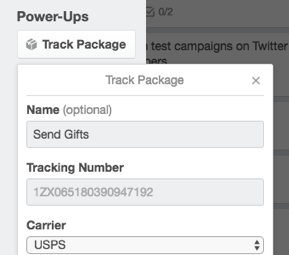 Trello tracking number entry