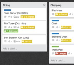 Trello tracking example