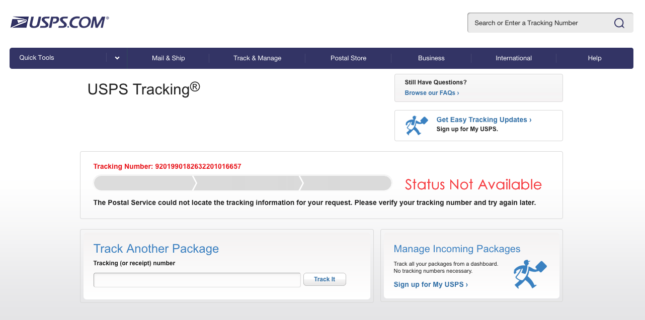 USPS tracking - before