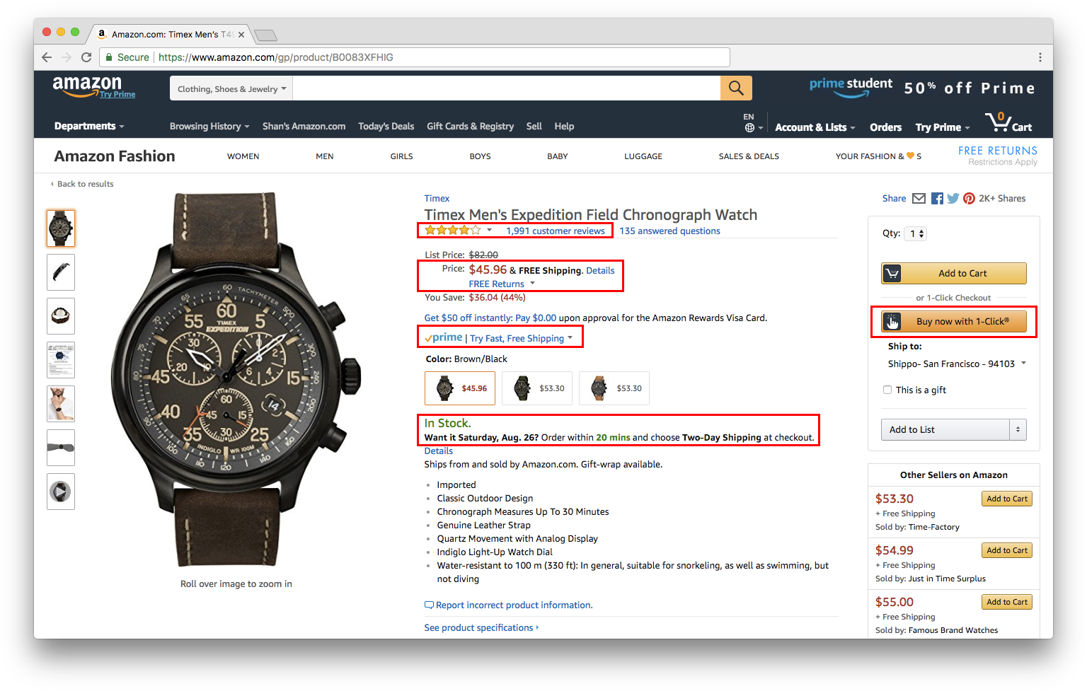 Amazon Product Page Screenshot