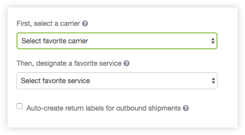 Favorite Shipping Service Screen Shot