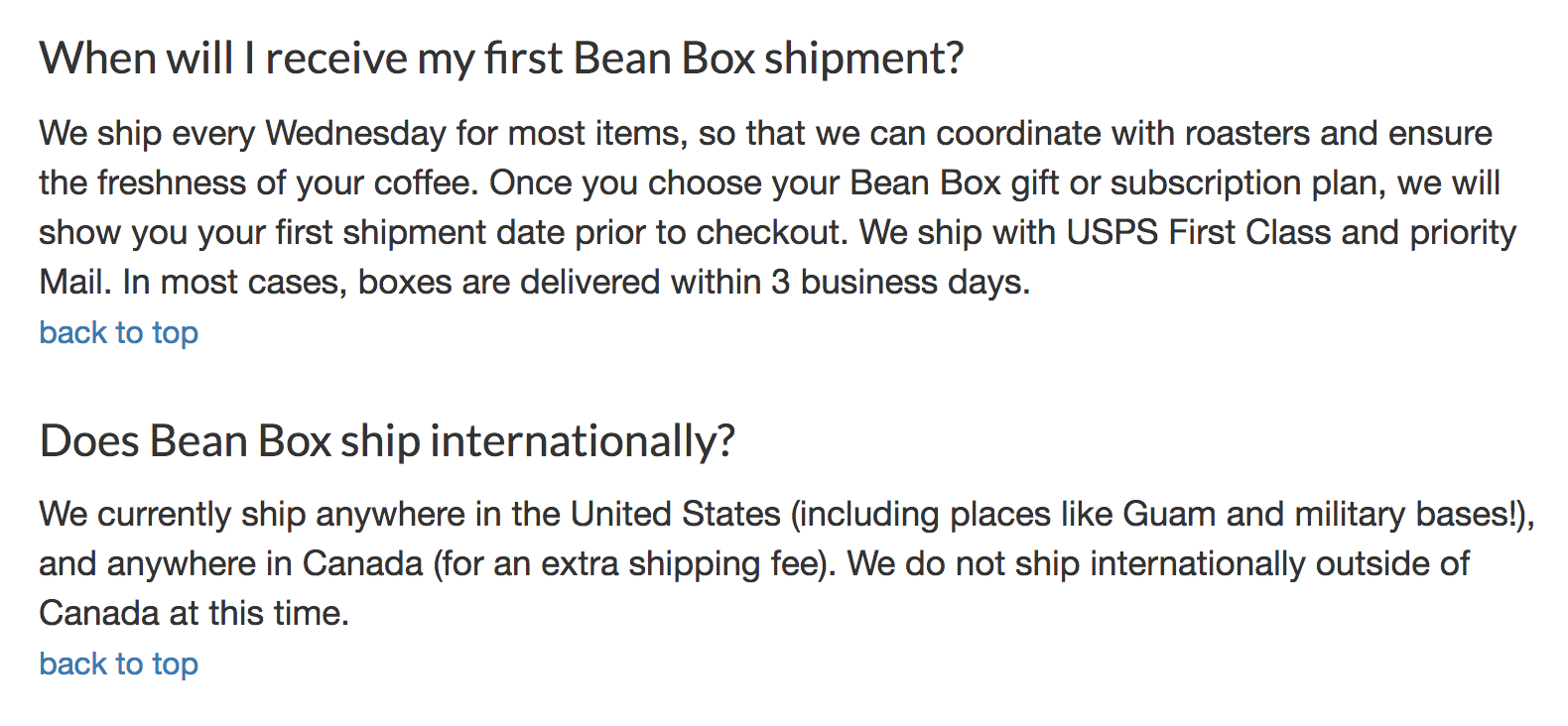 Bean Box shipping policy information