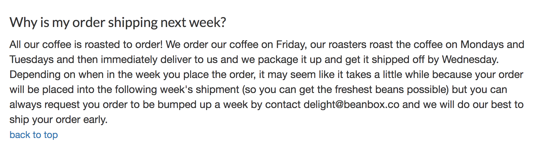 Bean Box shipping policy example #2