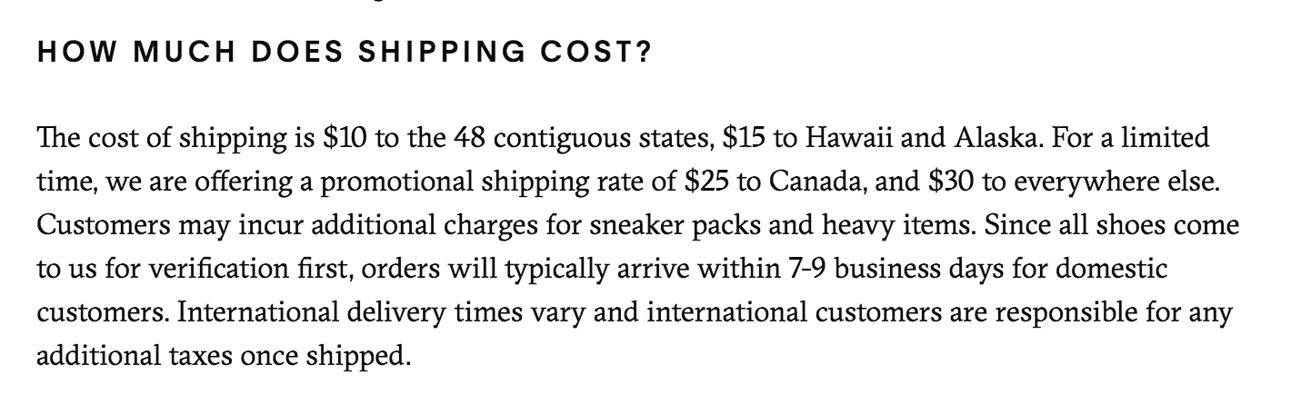 GOAT: How much does shipping cost?