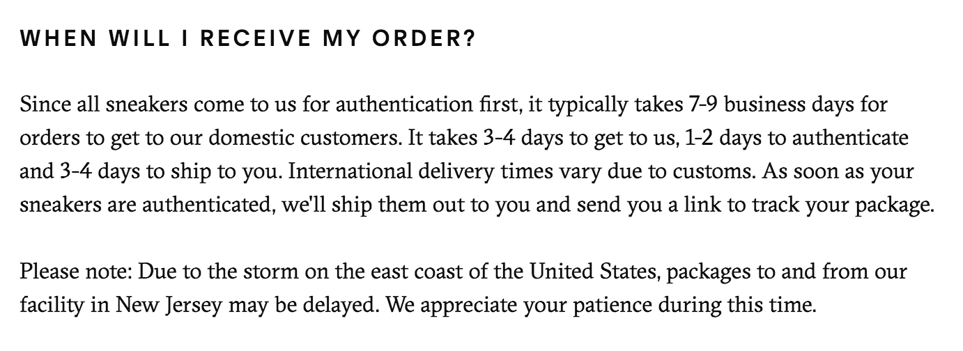 Shipping Policy Example: GOAT 1