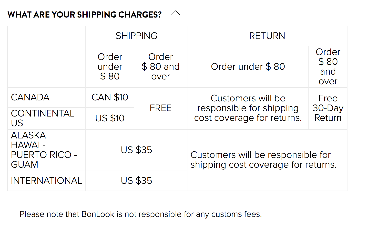 BonLook: What are your shipping charges?