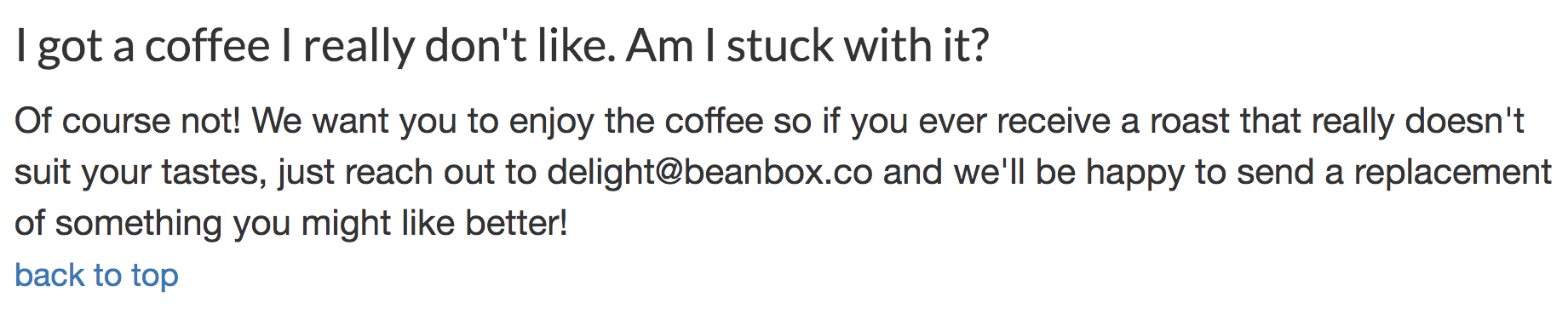 Bean Box Return Policy Example